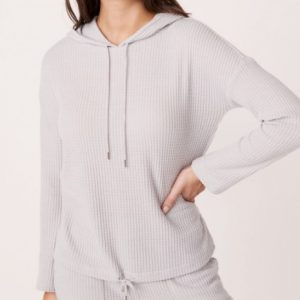 Waffle Knit Hooded Long Sleeves Shirt